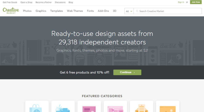 Creativemarket - website bán theme wordpress sáng tạo