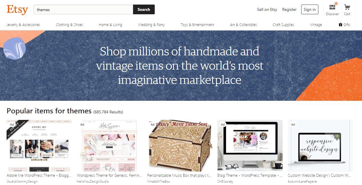 Website bán theme wordpress Etsy