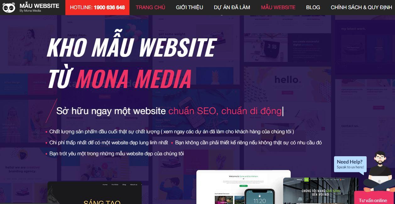 Kho Mẫu website Mona Media