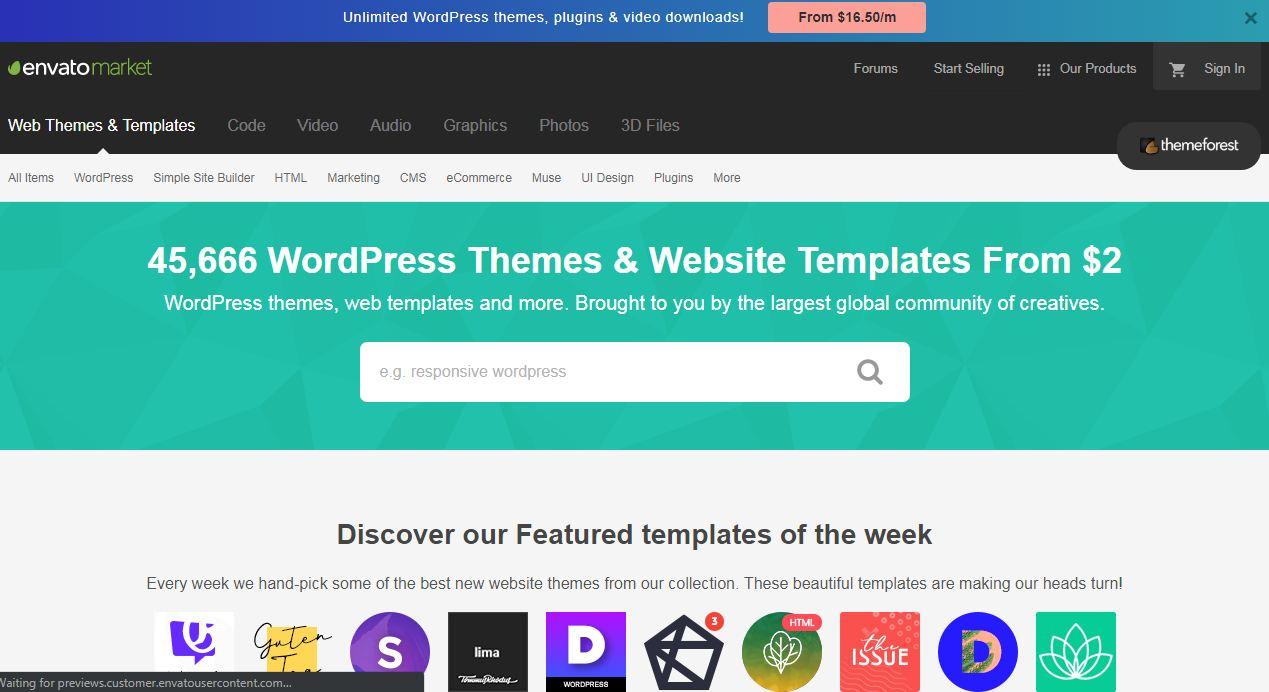 Themeforest – đây là một website bán theme wordpress được nhiều người biết đến