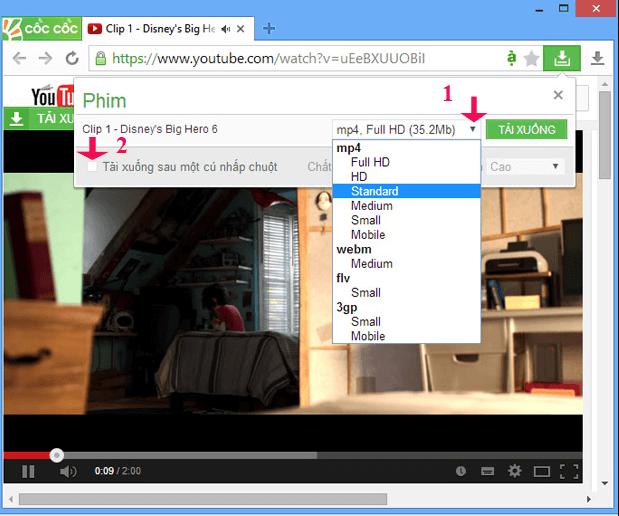 Download video bằng trình duyệt Coccoc
