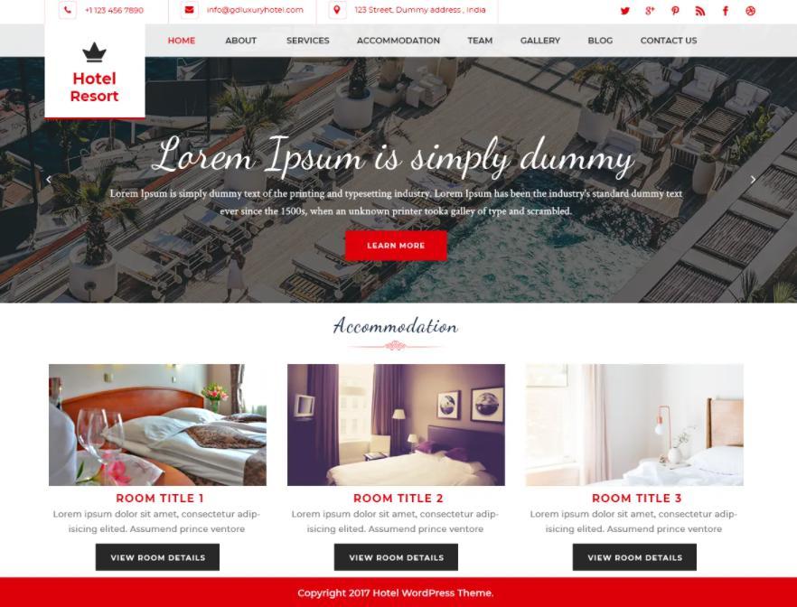 Theme wordpress cho web khách sạn Hotel Resort