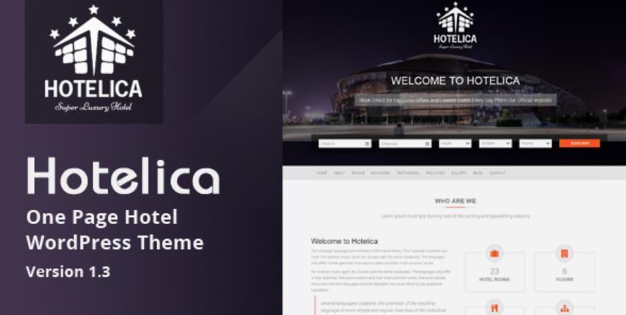 theme wordpress cho website khách sạn Hotelica