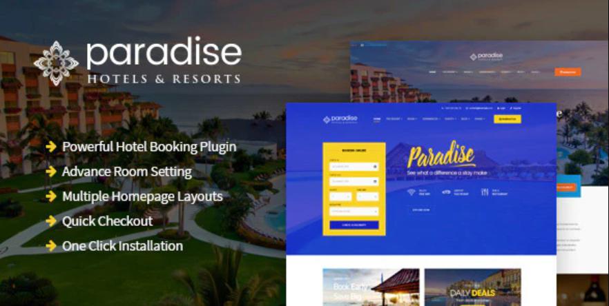 Theme wordpress cho web khách sạn miễn phí Hotel Paradise