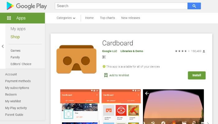 Google Cardboard -Ứng dụng cho kính thực tế ảo miễn phí
