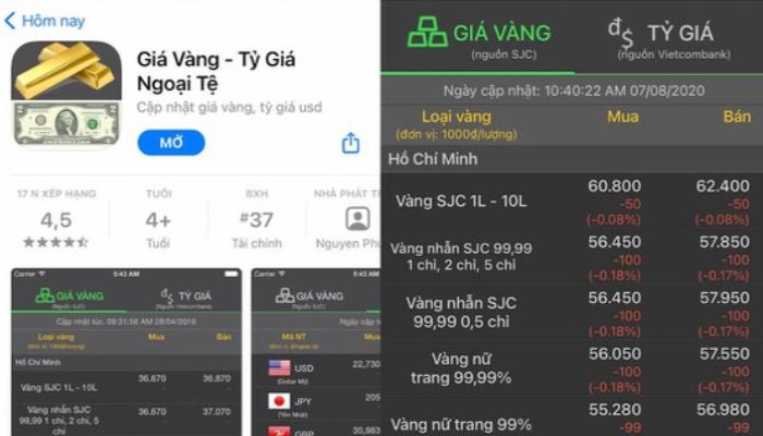 Giá vàng - App theo dõi biến động ngoại tệ trong nước